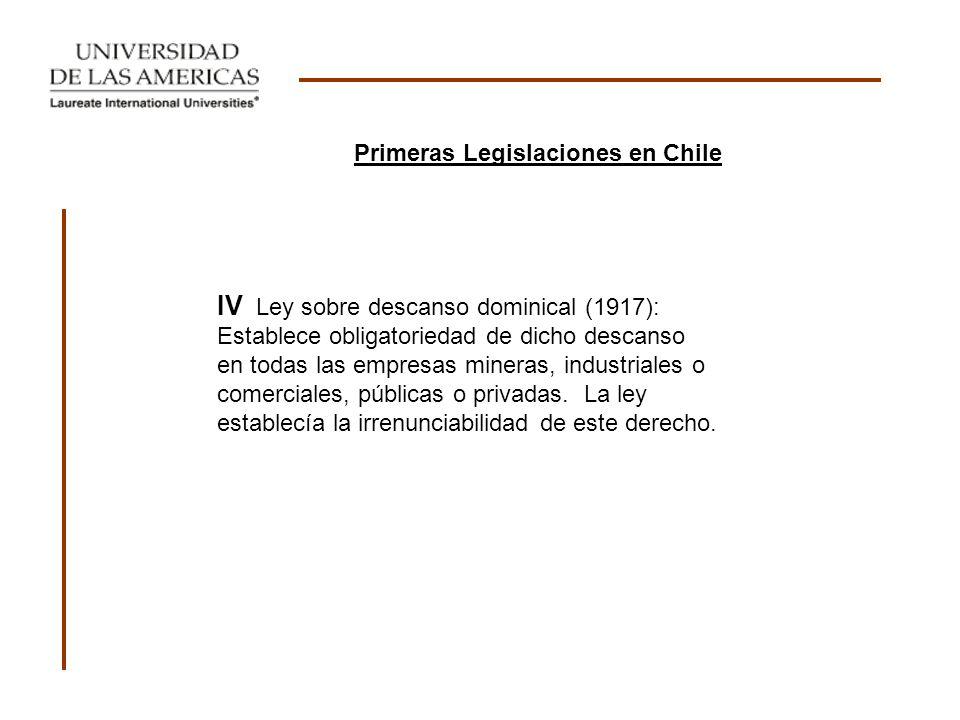 IV Ley sobre descanso dominical (1917): Establece obligatoriedad de dicho descanso en todas las empresas mineras, industriales o comerciales, públicas