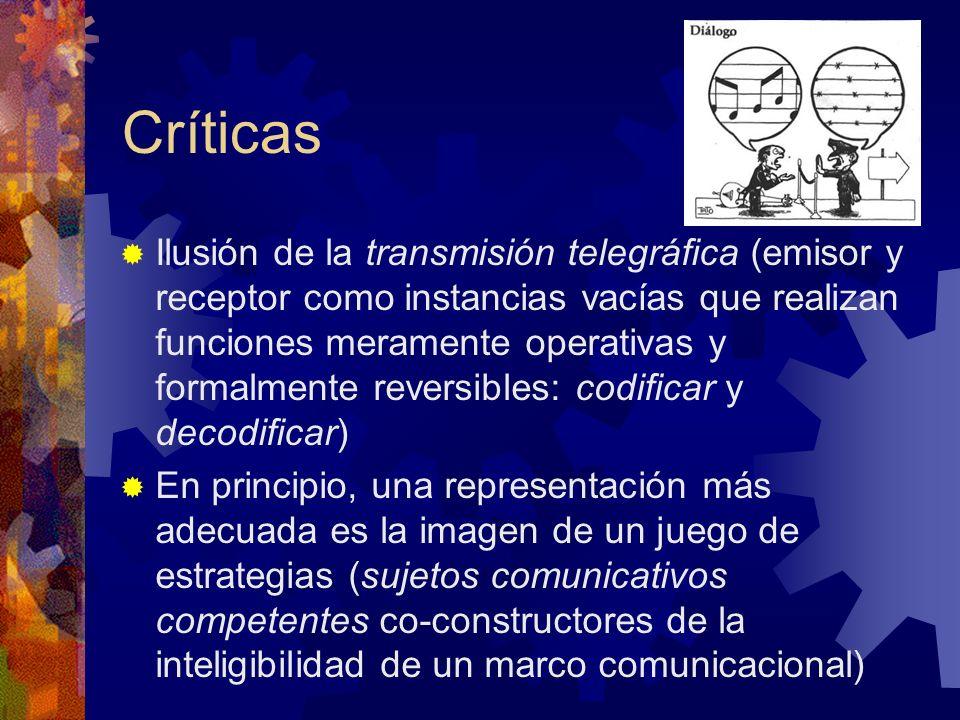 Críticas Ilusión de la transmisión telegráfica (emisor y receptor como instancias vacías que realizan funciones meramente operativas y formalmente rev