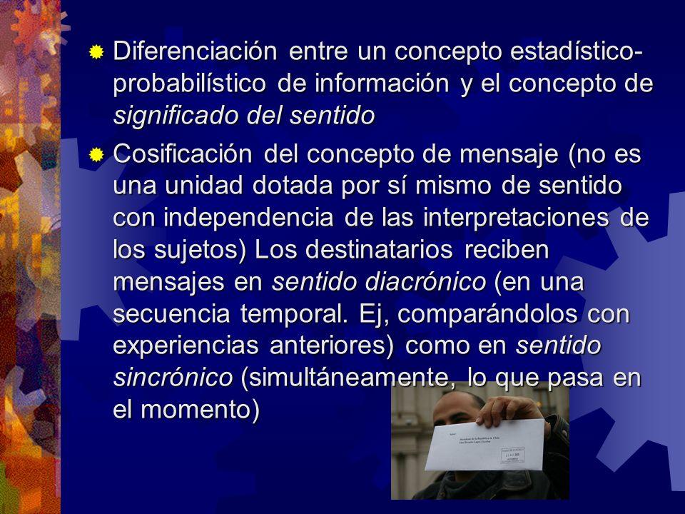 Diferenciación entre un concepto estadístico- probabilístico de información y el concepto de significado del sentido Diferenciación entre un concepto