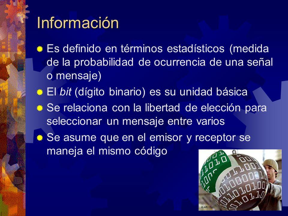 Información Es definido en términos estadísticos (medida de la probabilidad de ocurrencia de una señal o mensaje) El bit (dígito binario) es su unidad básica Se relaciona con la libertad de elección para seleccionar un mensaje entre varios Se asume que en el emisor y receptor se maneja el mismo código