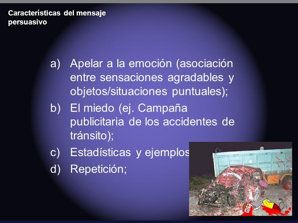 Características del mensaje persuasivo a)Apelar a la emoción (asociación entre sensaciones agradables y objetos/situaciones puntuales); b)El miedo (ej