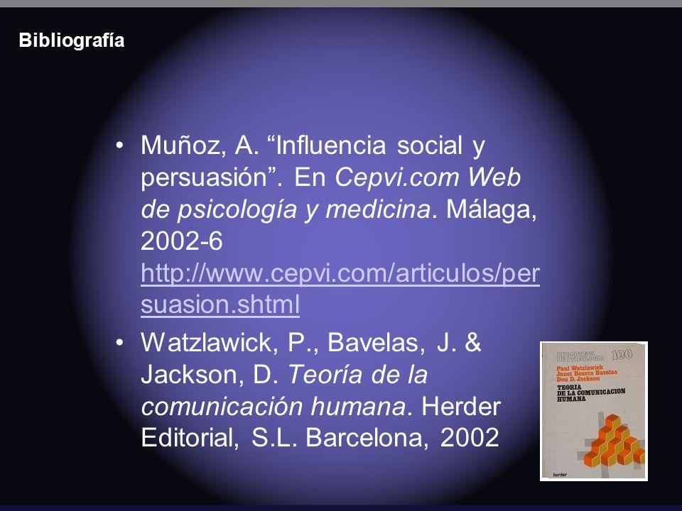 Bibliografía Muñoz, A. Influencia social y persuasión. En Cepvi.com Web de psicología y medicina. Málaga, 2002-6 http://www.cepvi.com/articulos/per su