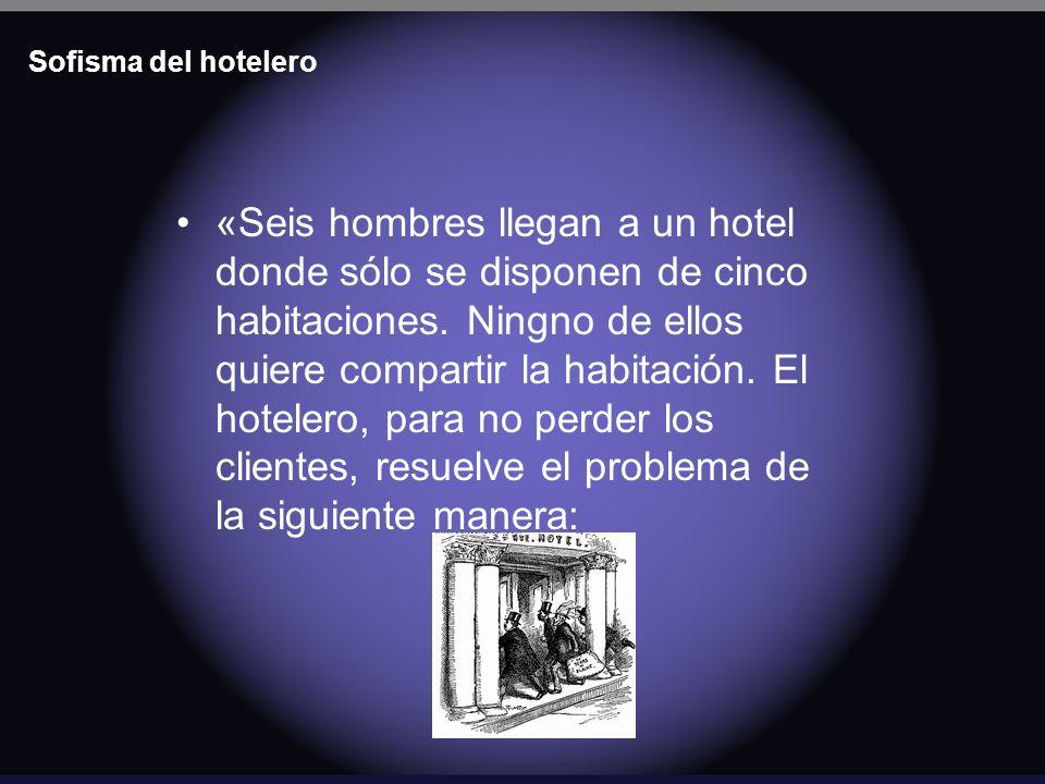 Sofisma del hotelero «Seis hombres llegan a un hotel donde sólo se disponen de cinco habitaciones. Ningno de ellos quiere compartir la habitación. El