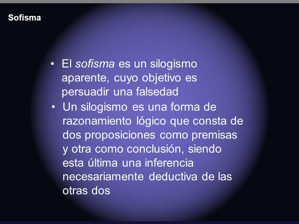 Sofisma El sofisma es un silogismo aparente, cuyo objetivo es persuadir una falsedad Un silogismo es una forma de razonamiento lógico que consta de do