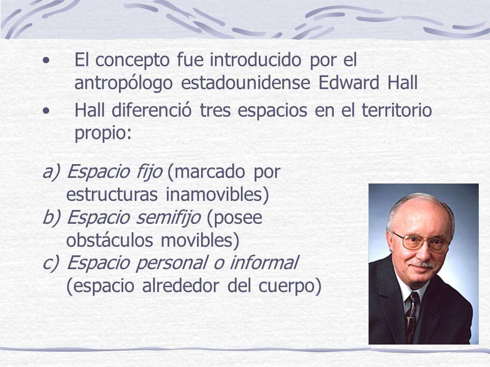 El concepto fue introducido por el antropólogo estadounidense Edward Hall Hall diferenció tres espacios en el territorio propio: a)Espacio fijo (marcado por estructuras inamovibles) b)Espacio semifijo (posee obstáculos movibles) c)Espacio personal o informal (espacio alrededor del cuerpo)