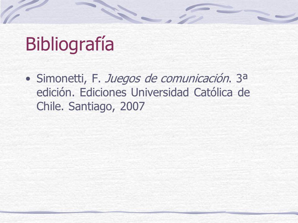 Bibliografía Simonetti, F. Juegos de comunicación. 3ª edición. Ediciones Universidad Católica de Chile. Santiago, 2007