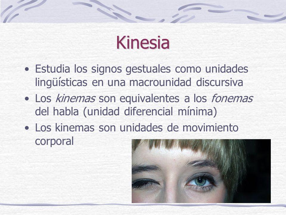 Kinesia Estudia los signos gestuales como unidades lingüísticas en una macrounidad discursiva Los kinemas son equivalentes a los fonemas del habla (unidad diferencial mínima) Los kinemas son unidades de movimiento corporal