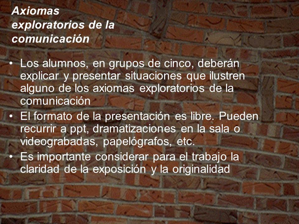 Axiomas exploratorios de la comunicación Los alumnos, en grupos de cinco, deberán explicar y presentar situaciones que ilustren alguno de los axiomas