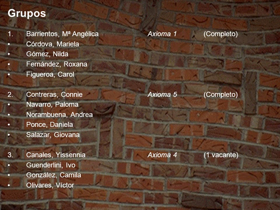 Grupos 4.Araya, MªAxioma 2(1 vacante) Ibacache, Bárbara González, Francisco Olivares, Laura 5.Carvallo, MarinaAxioma 3(2 vacantes) García, Fabiola Pequeño, Alejandra 6.Alcayaga, NyselAxioma 5(1 vacante) Beiza, Miguel Sepúlveda, Carla Vera, Ivana