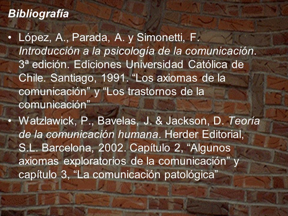 Bibliografía López, A., Parada, A. y Simonetti, F. Introducción a la psicología de la comunicación. 3ª edición. Ediciones Universidad Católica de Chil