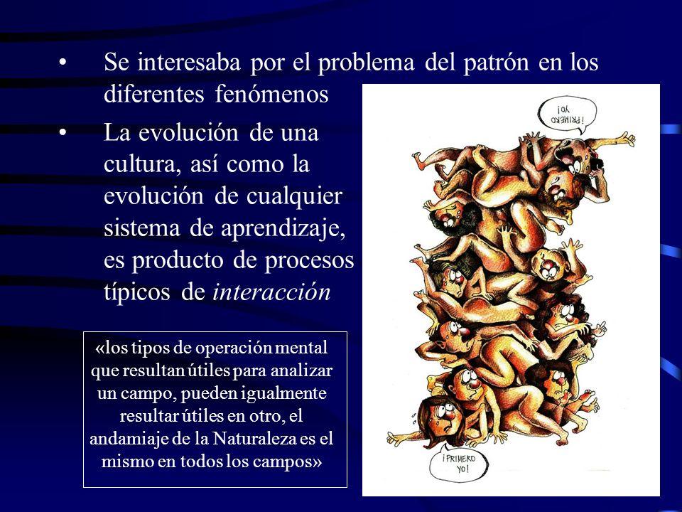 Se interesaba por el problema del patrón en los diferentes fenómenos La evolución de una cultura, así como la evolución de cualquier sistema de aprend