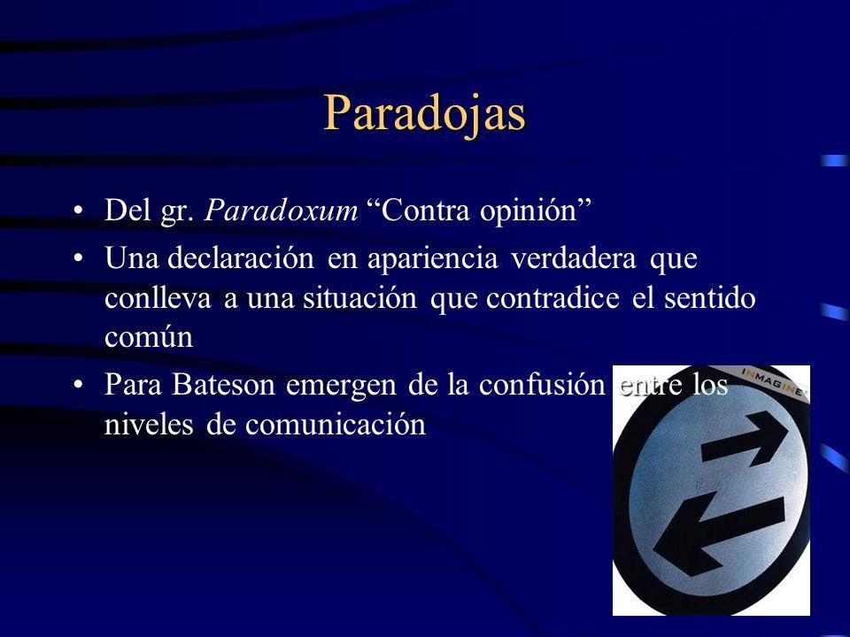 Paradojas Del gr. Paradoxum Contra opinión Una declaración en apariencia verdadera que conlleva a una situación que contradice el sentido común entPar