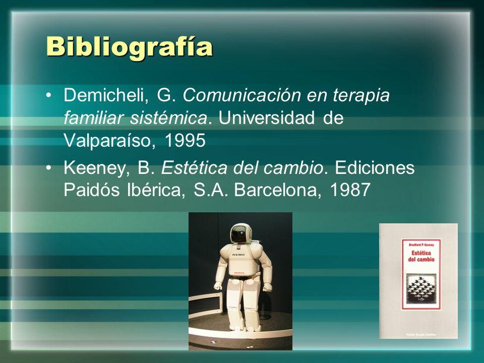 Bibliografía Demicheli, G. Comunicación en terapia familiar sistémica. Universidad de Valparaíso, 1995 Keeney, B. Estética del cambio. Ediciones Paidó