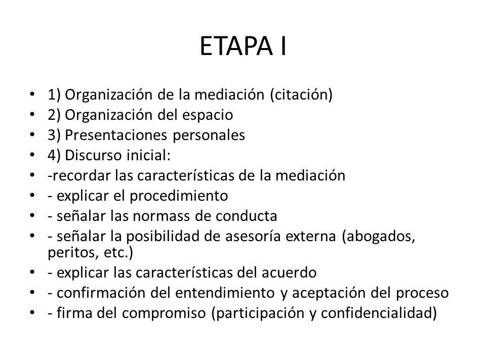 ETAPA I 1) Organización de la mediación (citación) 2) Organización del espacio 3) Presentaciones personales 4) Discurso inicial: -recordar las caracte