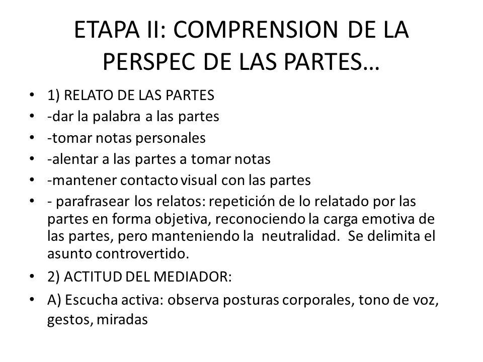 ETAPA II: COMPRENSION DE LA PERSPEC DE LAS PARTES… 1) RELATO DE LAS PARTES -dar la palabra a las partes -tomar notas personales -alentar a las partes