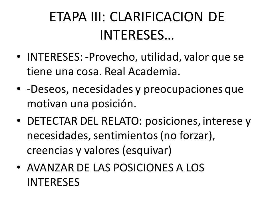 ETAPA III: CLARIFICACION DE INTERESES… INTERESES: -Provecho, utilidad, valor que se tiene una cosa. Real Academia. -Deseos, necesidades y preocupacion