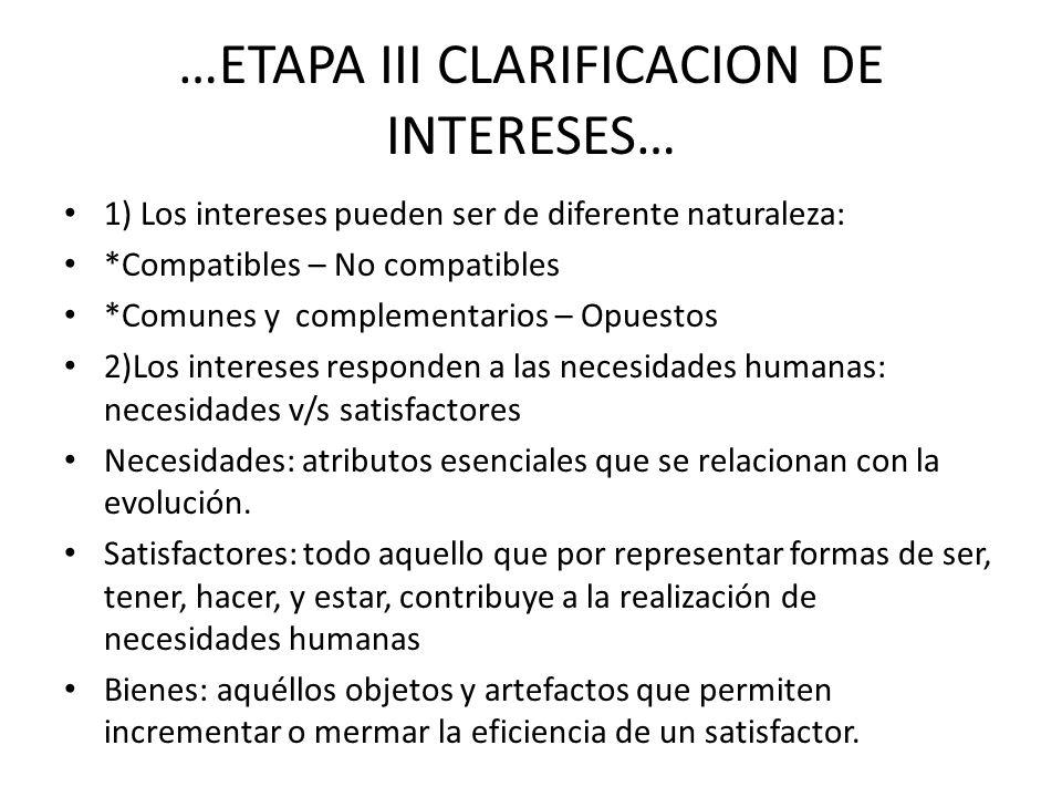 …ETAPA III CLARIFICACION DE INTERESES… 1) Los intereses pueden ser de diferente naturaleza: *Compatibles – No compatibles *Comunes y complementarios –