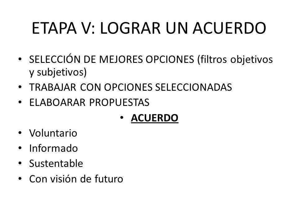 ETAPA V: LOGRAR UN ACUERDO SELECCIÓN DE MEJORES OPCIONES (filtros objetivos y subjetivos) TRABAJAR CON OPCIONES SELECCIONADAS ELABOARAR PROPUESTAS ACU