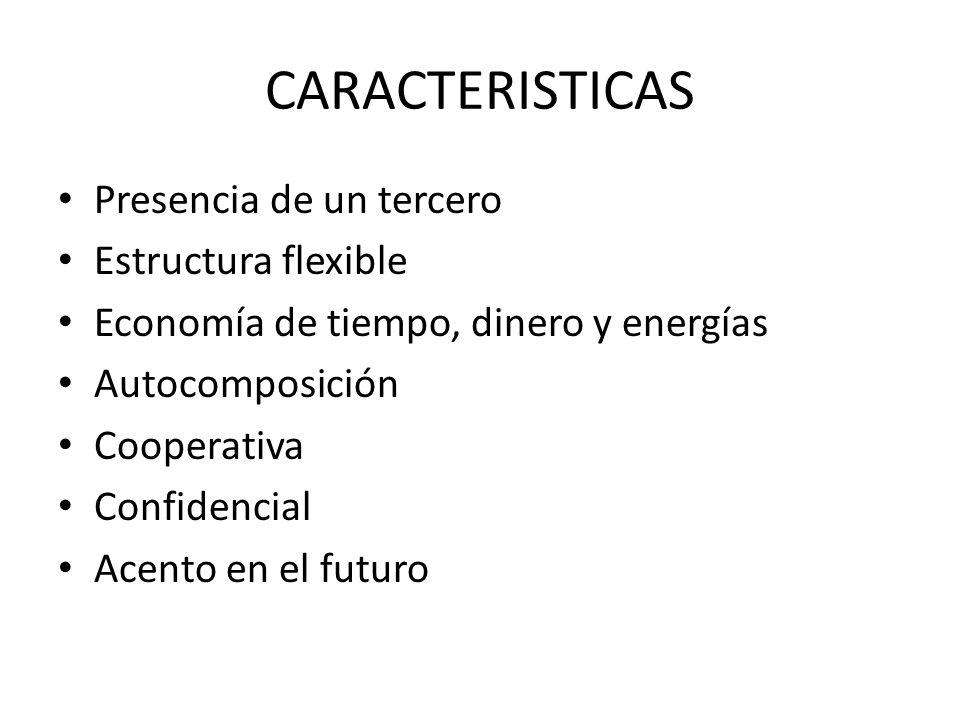 CARACTERISTICAS Presencia de un tercero Estructura flexible Economía de tiempo, dinero y energías Autocomposición Cooperativa Confidencial Acento en e