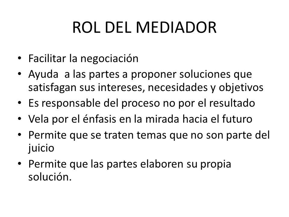 ROL DEL MEDIADOR Facilitar la negociación Ayuda a las partes a proponer soluciones que satisfagan sus intereses, necesidades y objetivos Es responsabl