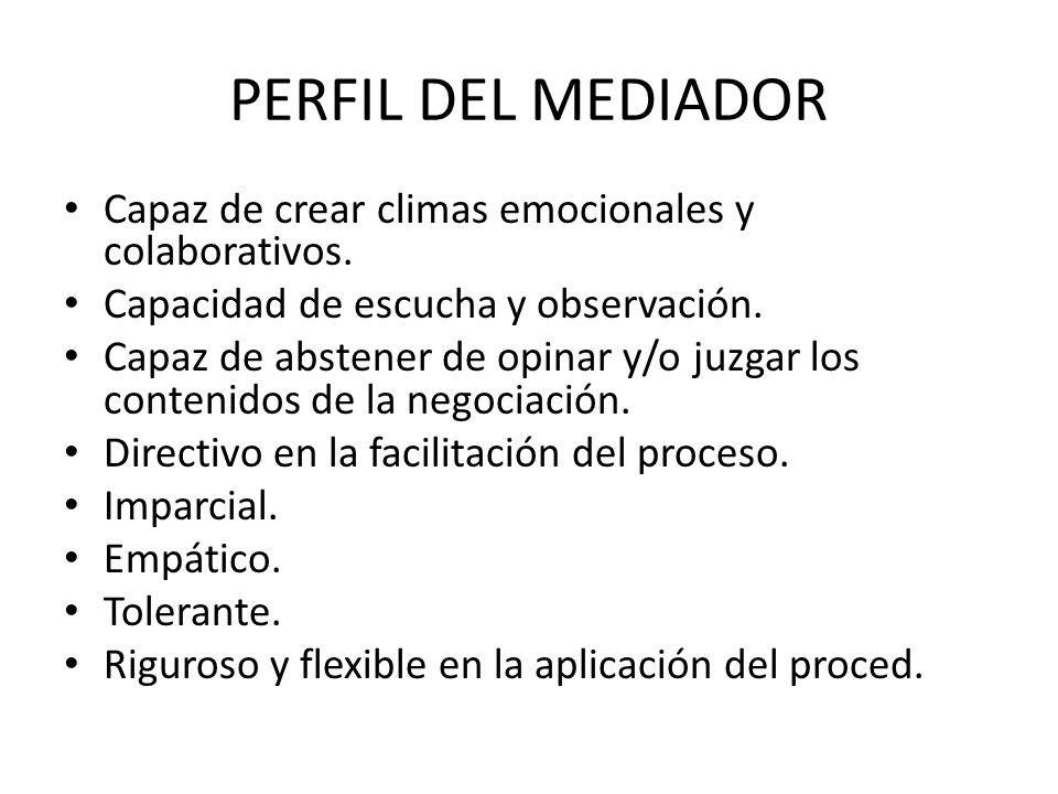 ESTRUCTURA DE LA MEDIACION Desarrollo del procedimiento: 1º Sesión conjunta inicial 2º Sesiones privadas (optativas, equitativas y confidenciales)- sesiones conjuntas intermedias.