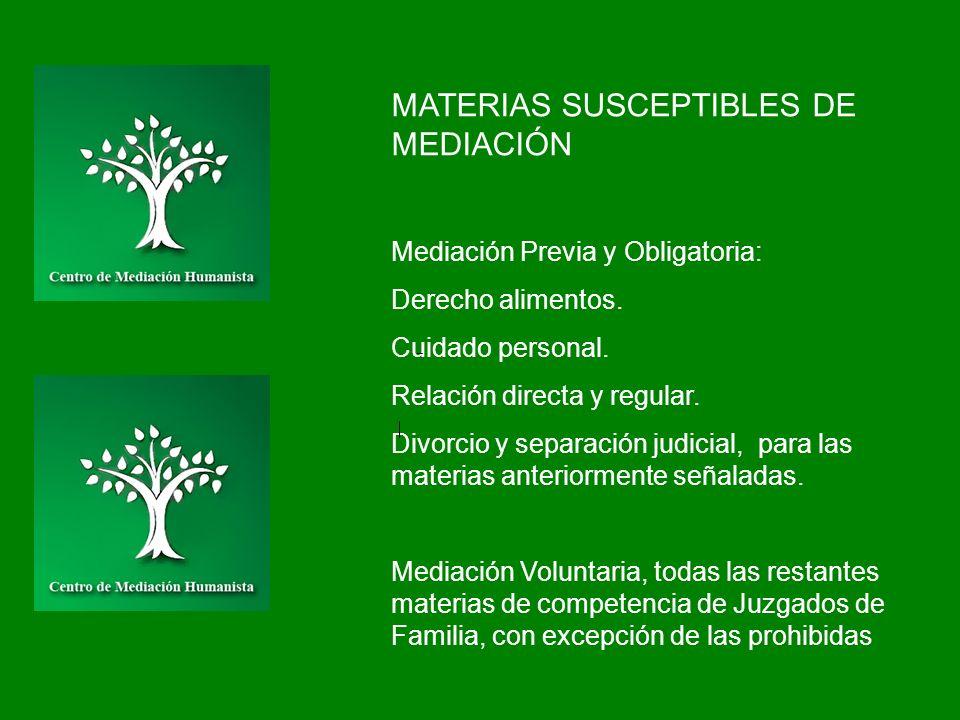 MATERIAS SUSCEPTIBLES DE MEDIACIÓN Mediación Previa y Obligatoria: Derecho alimentos. Cuidado personal. Relación directa y regular. Divorcio y separac