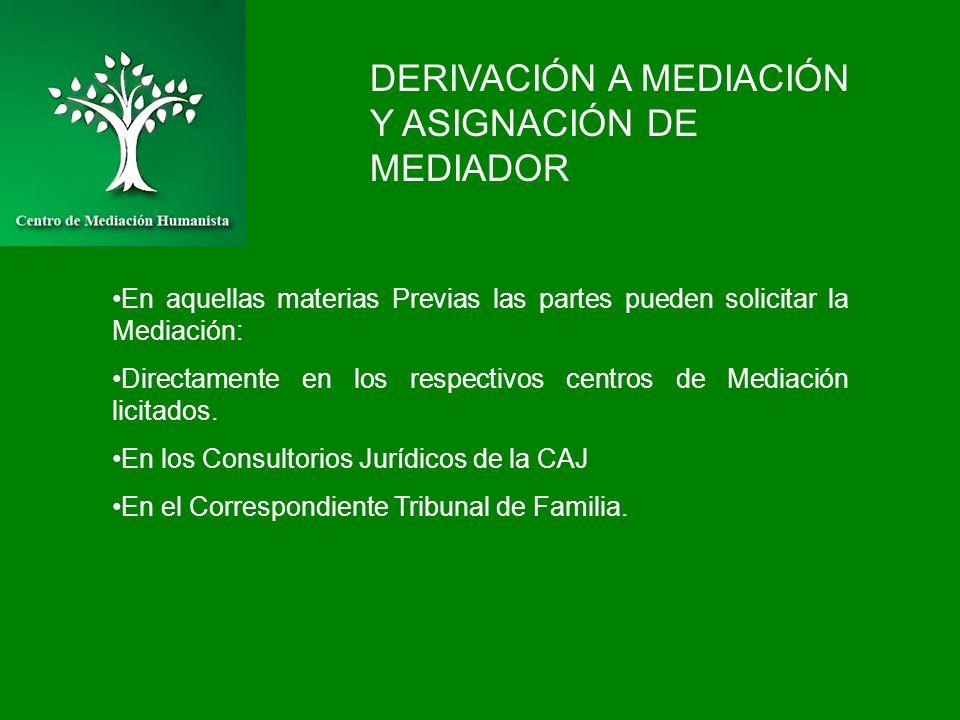 DERIVACIÓN A MEDIACIÓN Y ASIGNACIÓN DE MEDIADOR En aquellas materias Previas las partes pueden solicitar la Mediación: Directamente en los respectivos
