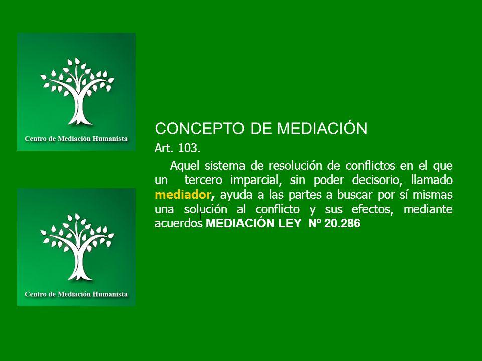 CONCEPTO DE MEDIACIÓN Art. 103. Aquel sistema de resolución de conflictos en el que un tercero imparcial, sin poder decisorio, llamado mediador, ayuda