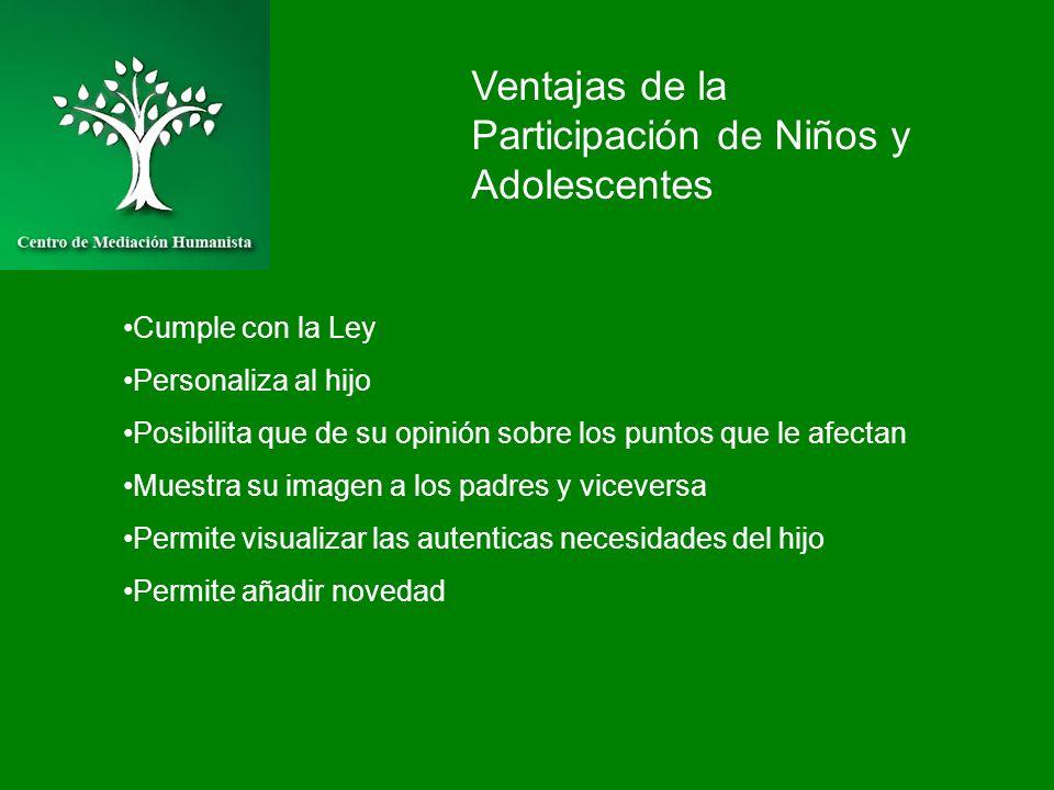 Ventajas de la Participación de Niños y Adolescentes Cumple con la Ley Personaliza al hijo Posibilita que de su opinión sobre los puntos que le afecta