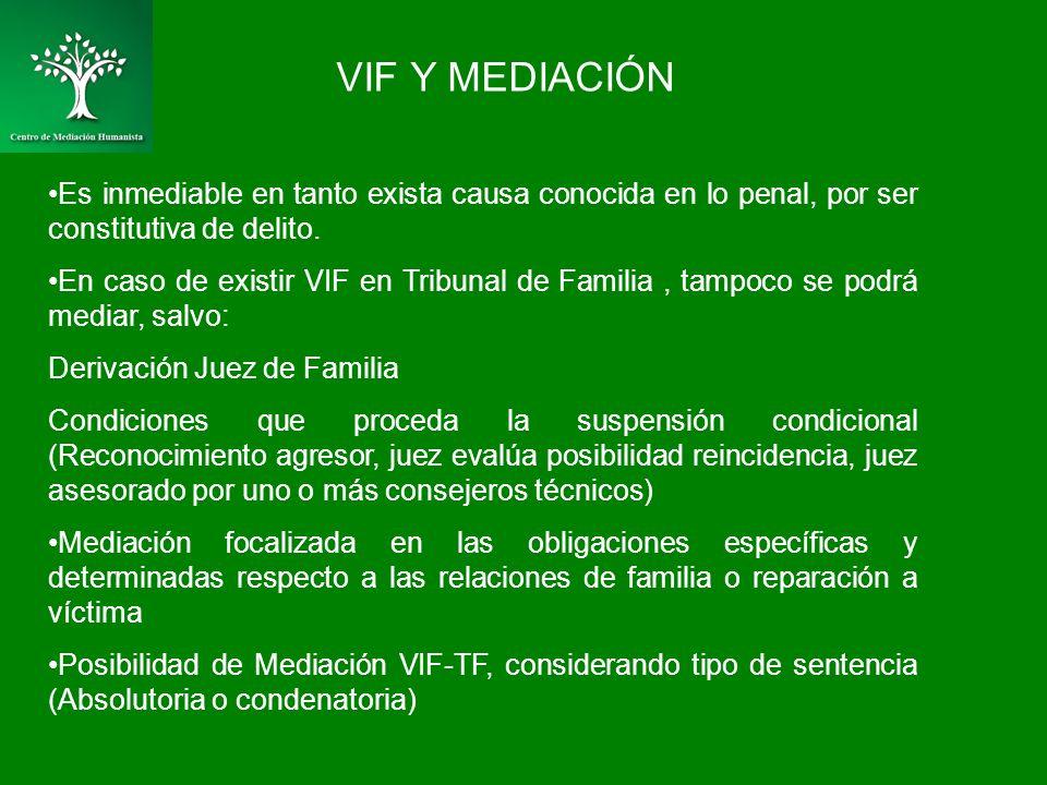VIF Y MEDIACIÓN Es inmediable en tanto exista causa conocida en lo penal, por ser constitutiva de delito. En caso de existir VIF en Tribunal de Famili