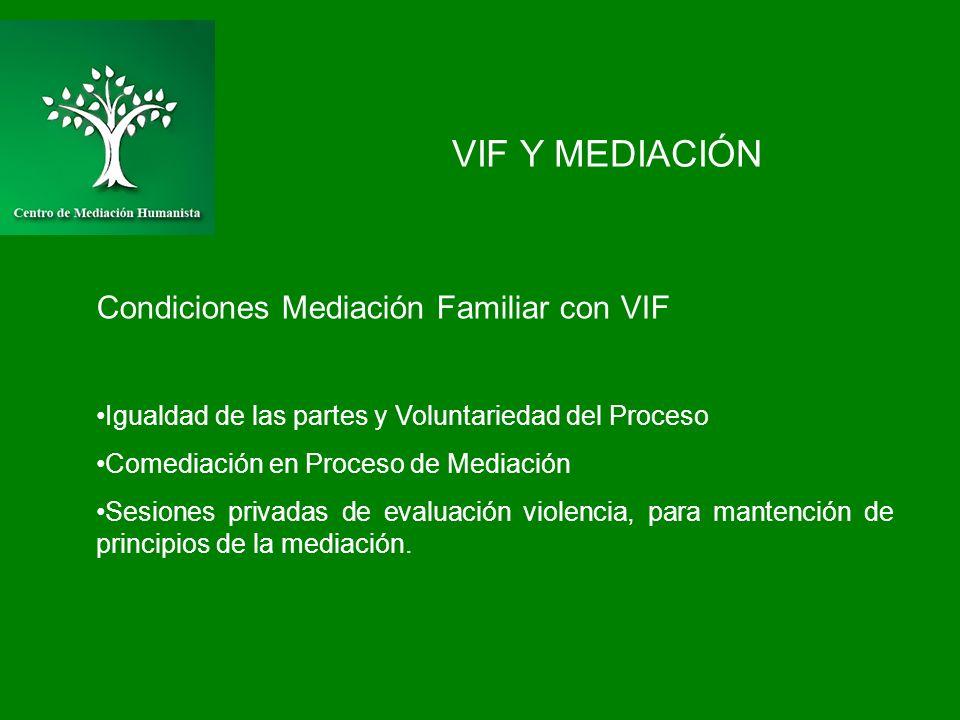 VIF Y MEDIACIÓN Condiciones Mediación Familiar con VIF Igualdad de las partes y Voluntariedad del Proceso Comediación en Proceso de Mediación Sesiones