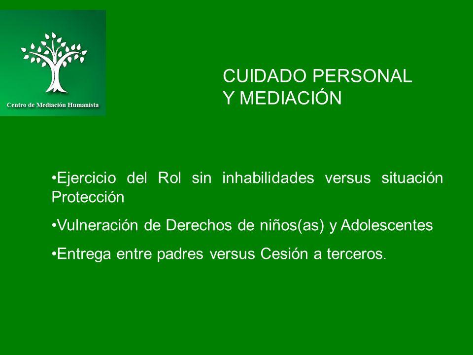 CUIDADO PERSONAL Y MEDIACIÓN Ejercicio del Rol sin inhabilidades versus situación Protección Vulneración de Derechos de niños(as) y Adolescentes Entre