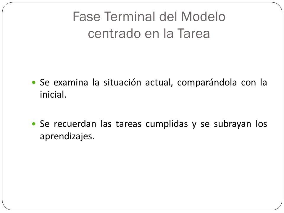 Fase Terminal del Modelo centrado en la Tarea Se examina la situación actual, comparándola con la inicial. Se recuerdan las tareas cumplidas y se subr