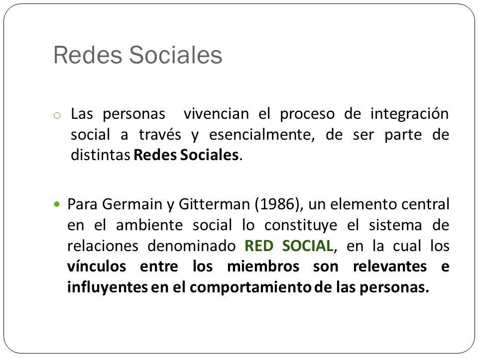 Redes Sociales o Las personas vivencian el proceso de integración social a través y esencialmente, de ser parte de distintas Redes Sociales. Para Germ