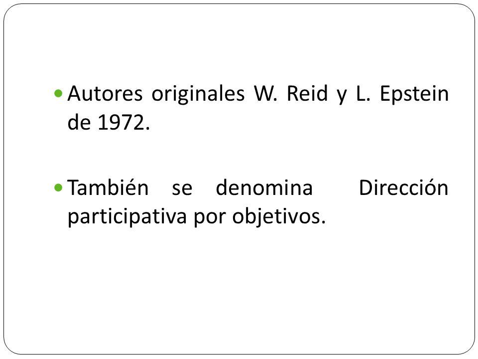 Autores originales W. Reid y L. Epstein de 1972. También se denomina Dirección participativa por objetivos.