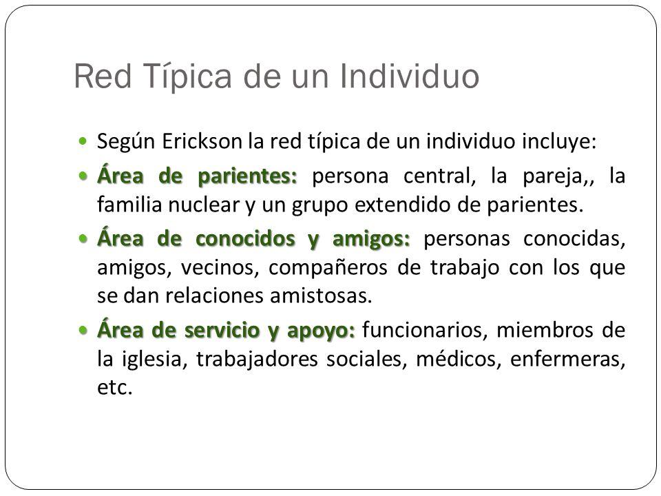 Red Típica de un Individuo Según Erickson la red típica de un individuo incluye: Área de parientes: Área de parientes: persona central, la pareja,, la