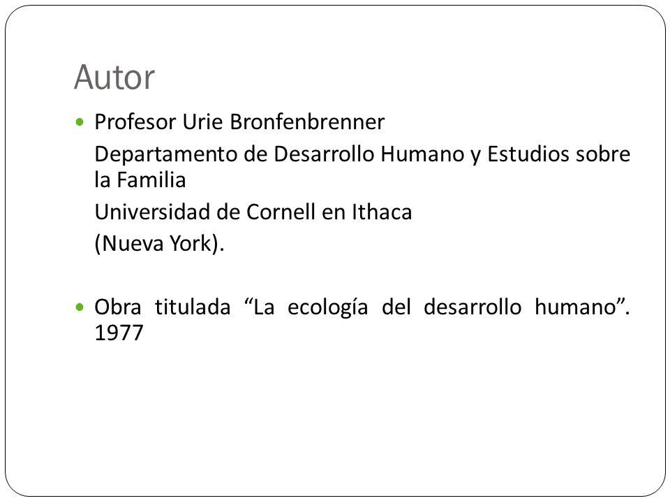 Autor Profesor Urie Bronfenbrenner Departamento de Desarrollo Humano y Estudios sobre la Familia Universidad de Cornell en Ithaca (Nueva York). Obra t