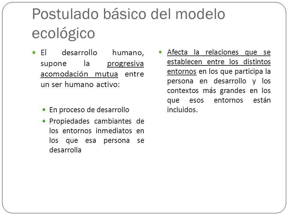 Postulado básico del modelo ecológico El desarrollo humano, supone la progresiva acomodación mutua entre un ser humano activo: En proceso de desarroll