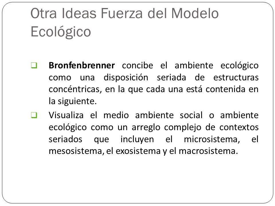 Otra Ideas Fuerza del Modelo Ecológico Bronfenbrenner concibe el ambiente ecológico como una disposición seriada de estructuras concéntricas, en la qu
