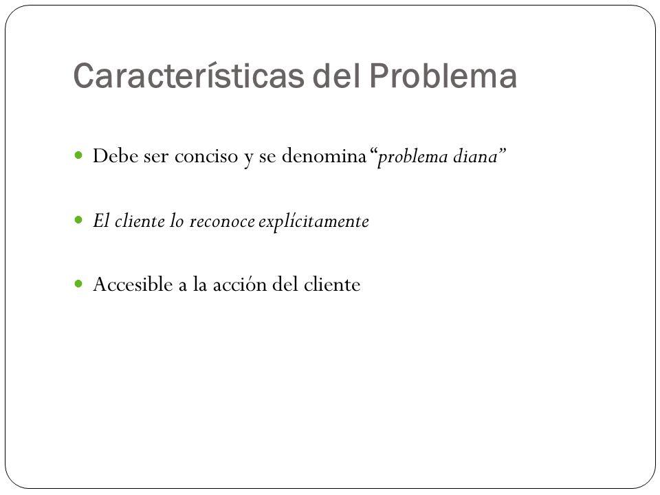Características del Problema Debe ser conciso y se denomina problema diana El cliente lo reconoce explícitamente Accesible a la acción del cliente