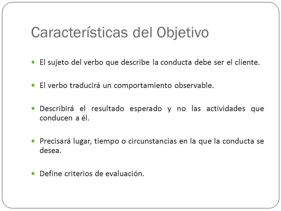 Características del Objetivo El sujeto del verbo que describe la conducta debe ser el cliente. El verbo traducirá un comportamiento observable. Descri