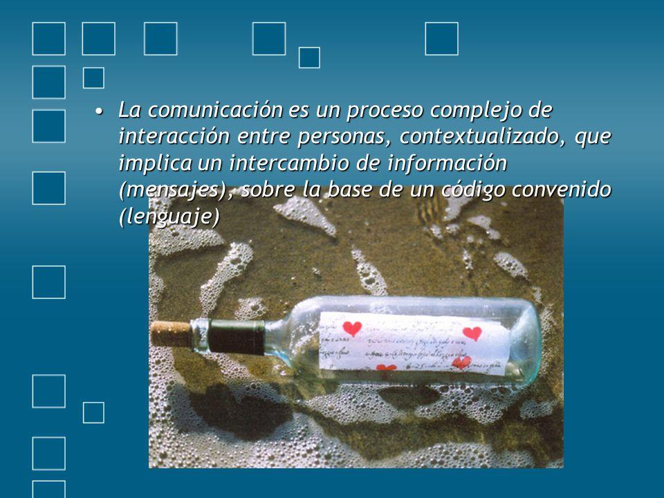 La comunicación es un proceso complejo de interacción entre personas, contextualizado, que implica un intercambio de información (mensajes), sobre la base de un código convenido (lenguaje)La comunicación es un proceso complejo de interacción entre personas, contextualizado, que implica un intercambio de información (mensajes), sobre la base de un código convenido (lenguaje)