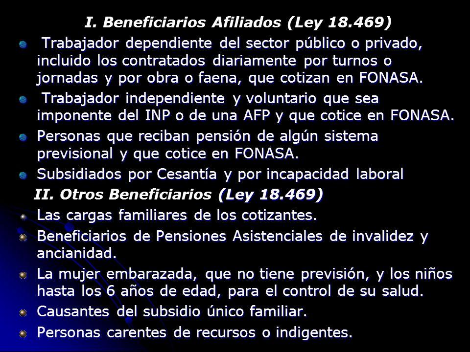 I. Beneficiarios Afiliados (Ley 18.469) Trabajador dependiente del sector público o privado, incluido los contratados diariamente por turnos o jornada