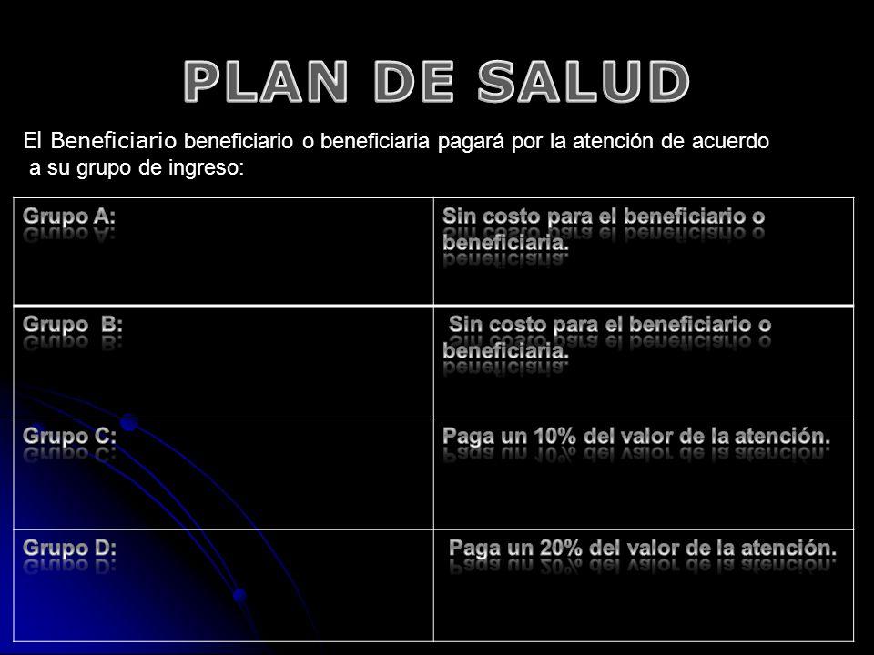 El Beneficiario beneficiario o beneficiaria pagará por la atención de acuerdo a su grupo de ingreso: