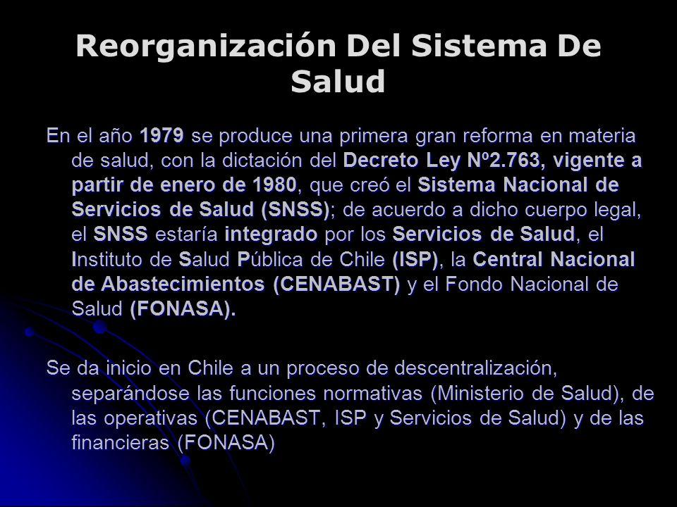 Reorganización Del Sistema De Salud En el año 1979 se produce una primera gran reforma en materia de salud, con la dictación del Decreto Ley Nº2.763, vigente a partir de enero de 1980, que creó el Sistema Nacional de Servicios de Salud (SNSS); de acuerdo a dicho cuerpo legal, el SNSS estaría integrado por los Servicios de Salud, el Instituto de Salud Pública de Chile (ISP), la Central Nacional de Abastecimientos (CENABAST) y el Fondo Nacional de Salud (FONASA).