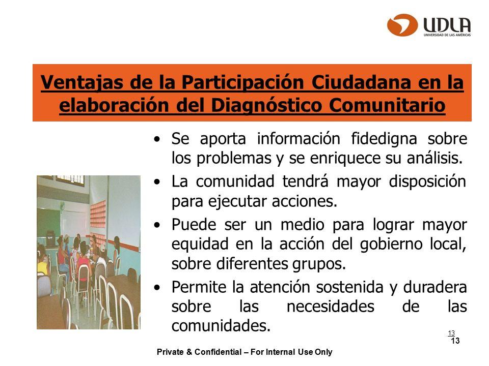Private & Confidential – For Internal Use Only 13 Ventajas de la Participación Ciudadana en la elaboración del Diagnóstico Comunitario Se aporta infor