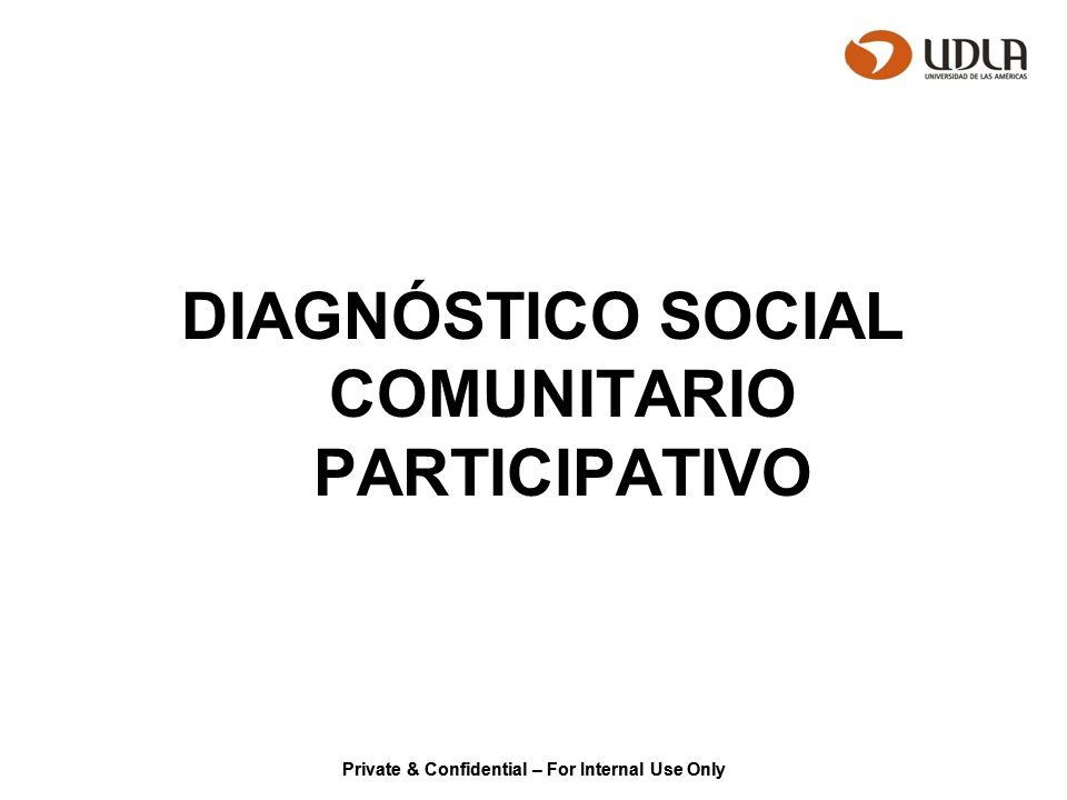 Private & Confidential – For Internal Use Only CONTENIDOS / ACTIVIDADES DIAGNÓSTICO SOCIAL COMUNITARIO PARTICIPATIVO