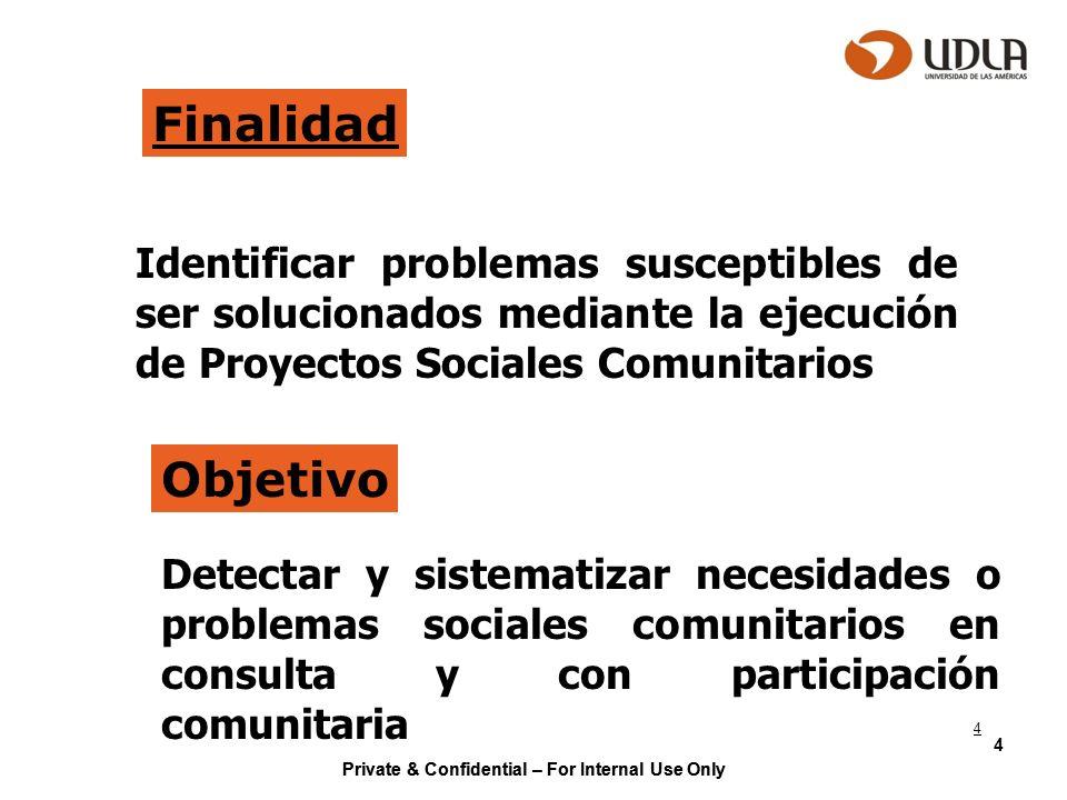 Private & Confidential – For Internal Use Only 4 Finalidad Identificar problemas susceptibles de ser solucionados mediante la ejecución de Proyectos S