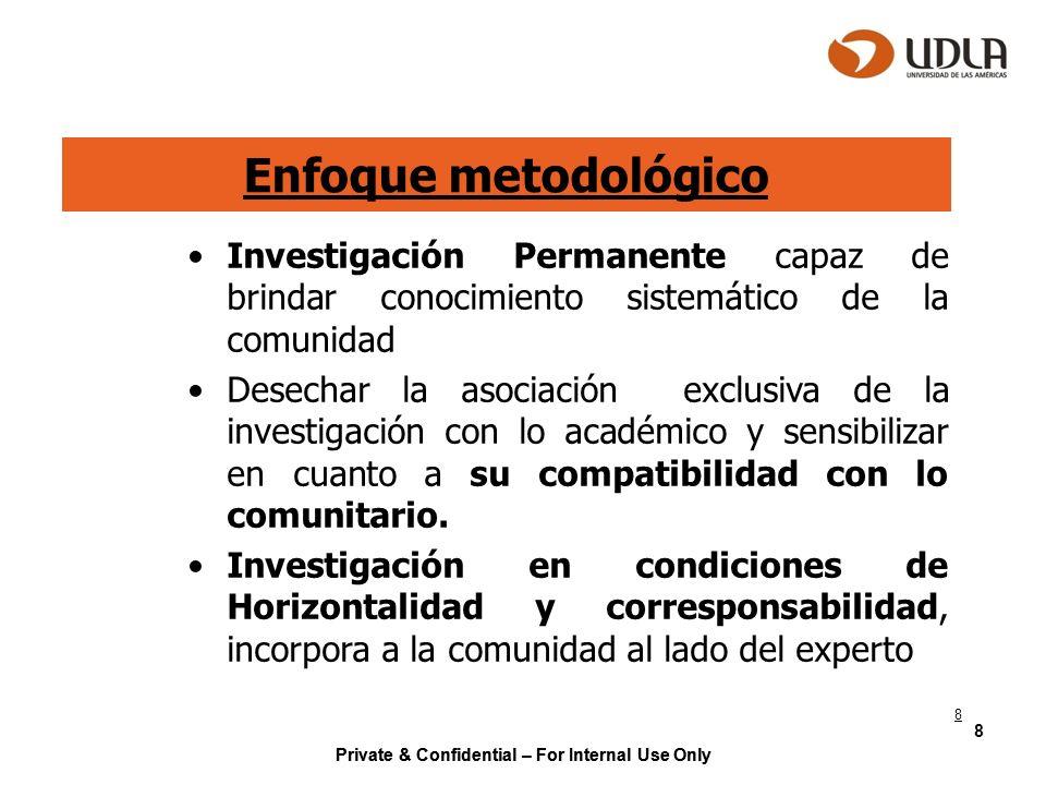 Private & Confidential – For Internal Use Only 8 Enfoque metodológico Investigación Permanente capaz de brindar conocimiento sistemático de la comunid