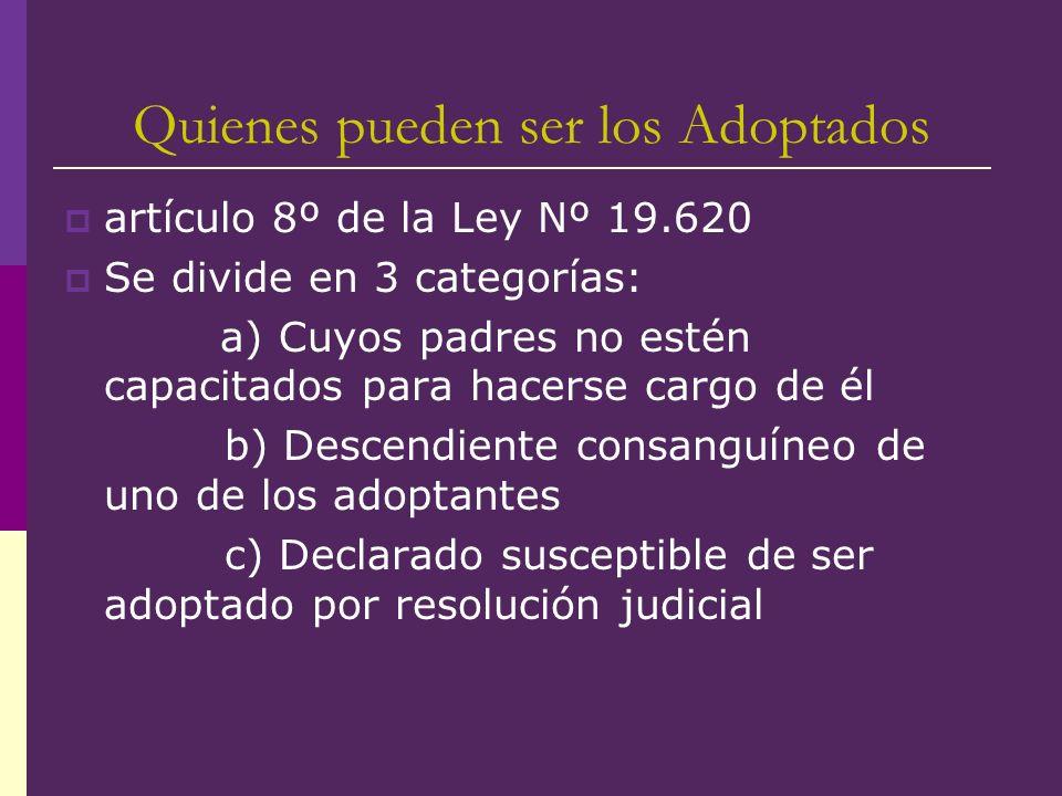 Quienes pueden ser los Adoptados artículo 8º de la Ley Nº 19.620 Se divide en 3 categorías: a) Cuyos padres no estén capacitados para hacerse cargo de